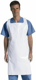 APRON POLYETHYLENE WHITE INDIVIDUALLY WRAPPED