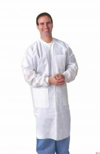 LAB COAT WHITE KNIT CUFF LAB COAT WHITE LARGE