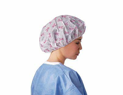 BOUFFANT CAP 61CM BREAST CANCER RIBBON PRINT